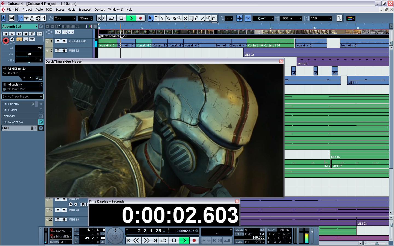 Синхронизация аудио и видеоряда посредством секвенсора Cubase
